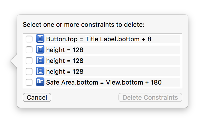 Delete an auto layout constraint to fix the problem