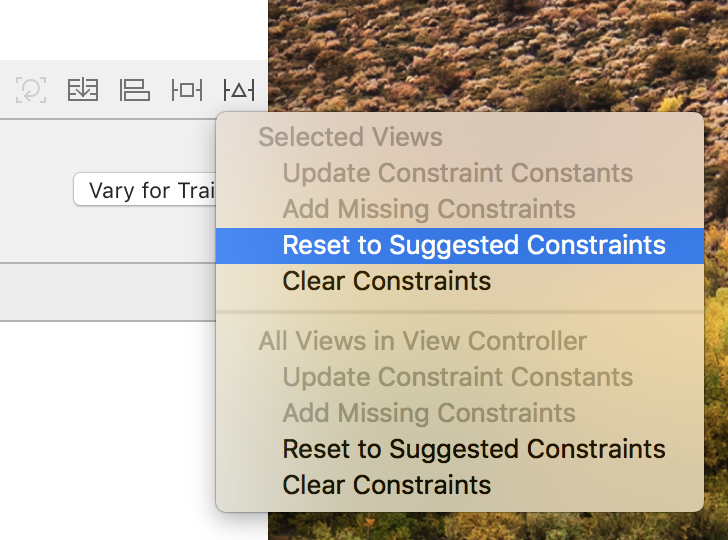 Don't use Reset to Suggested Constraints