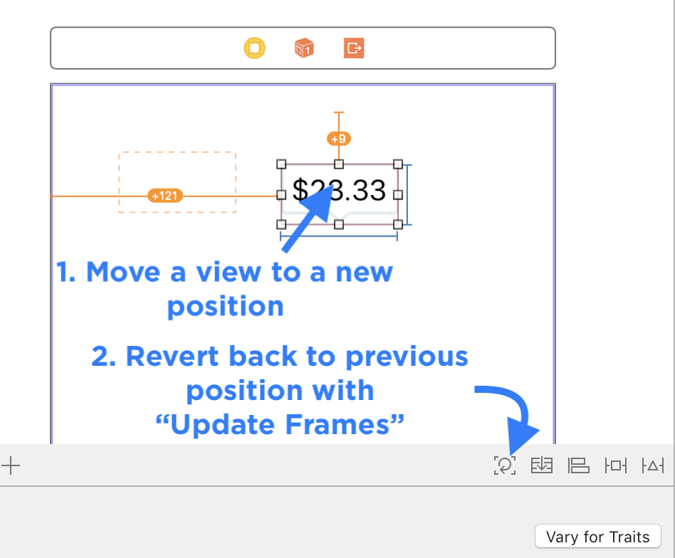 Revert the Canvas Position Back to the Auto Layout Constraint Position with the Update Frames Button
