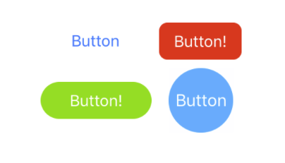 A stock UIButton with some of the buttons you will be able to build using this tutorial