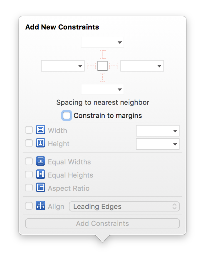 Add Constraints Menu