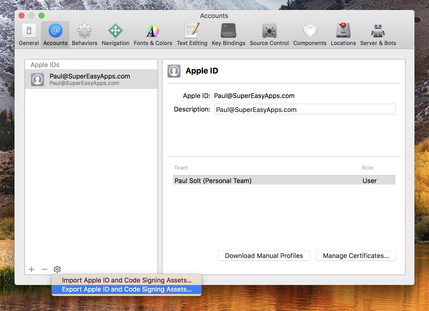 Export Apple ID and Code Signing Assets...