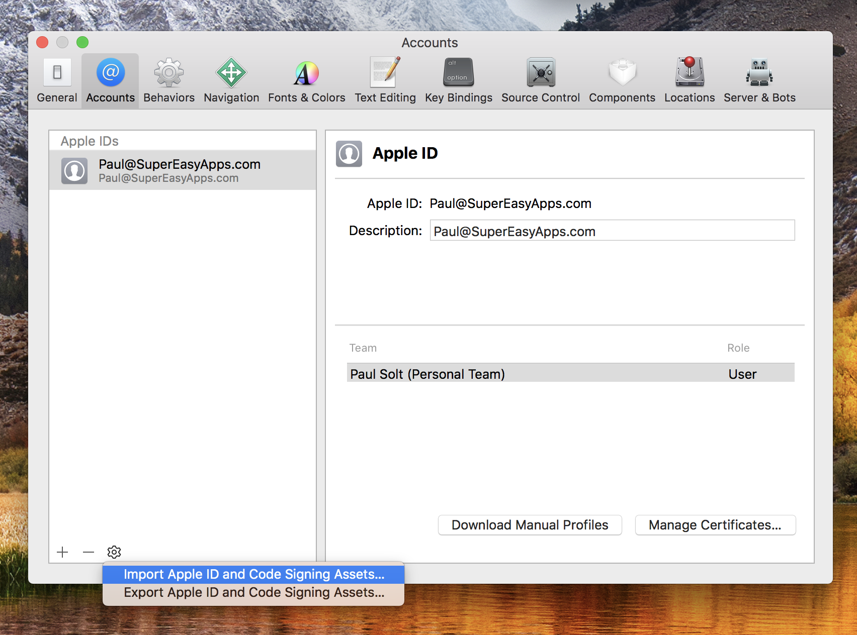 Import Apple ID and Code Signing Assets...