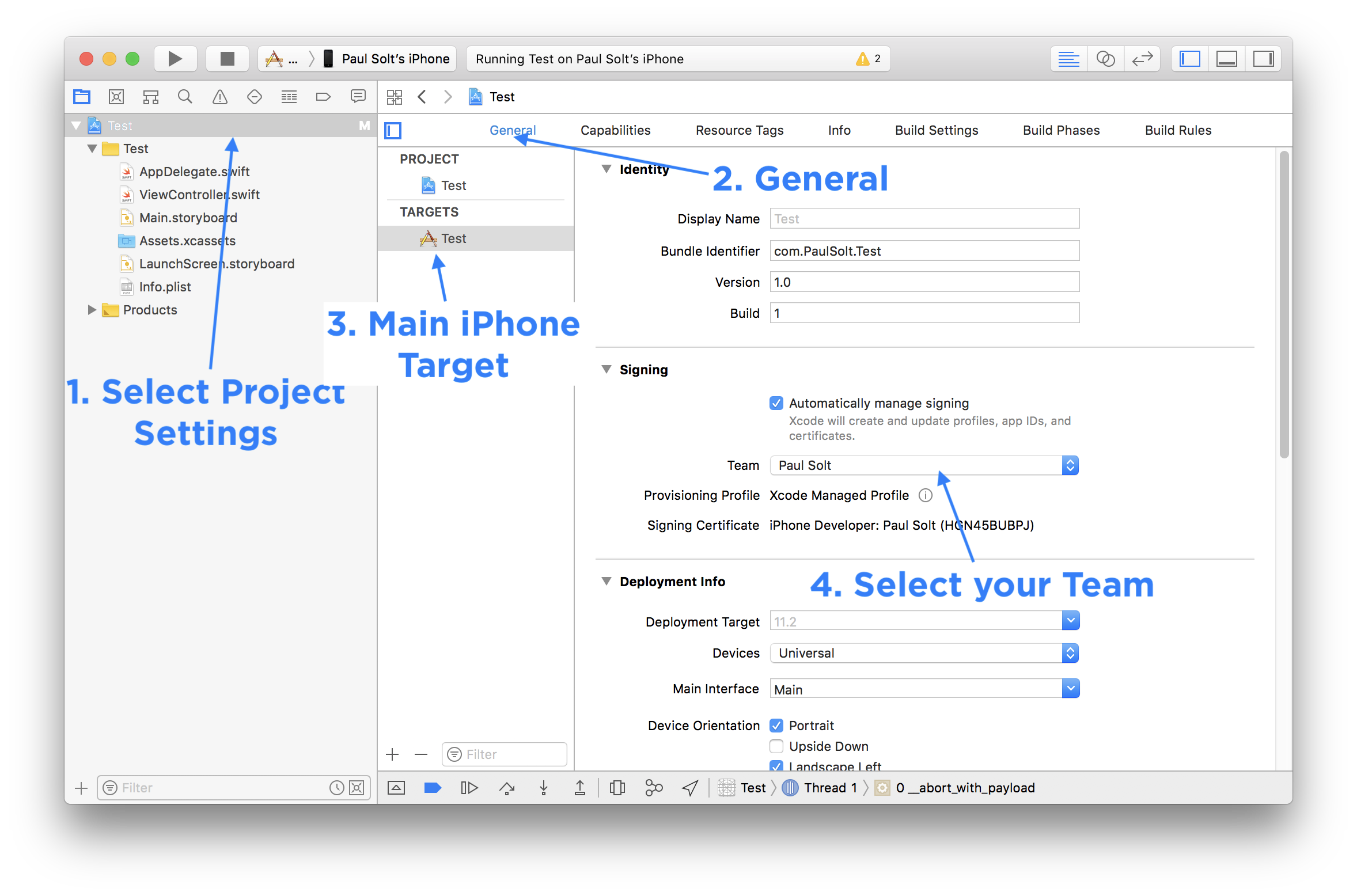 Select Your Xcode Team Profile