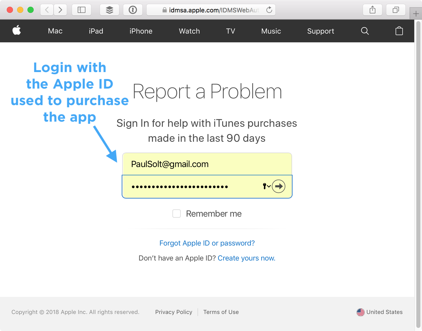 Login to your Apple ID for your App Store Refund